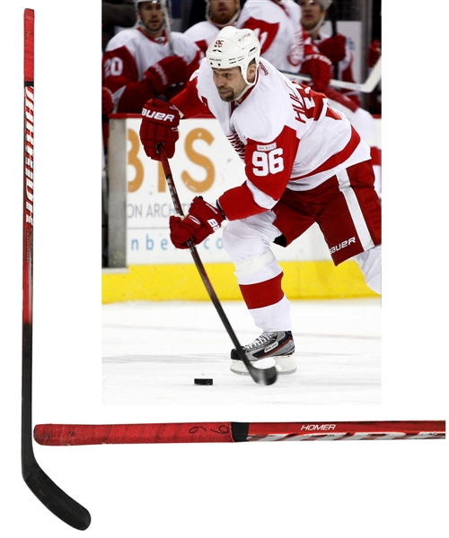 "Tomas Holmstroms 2011-12 Detroit Red Wings ""1000th Game"" Warrior Game-Used Stick"