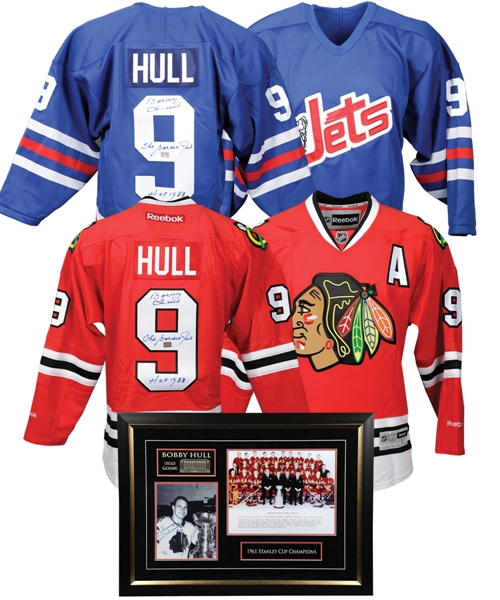 Bobby Hull Autograph Collection of 6 Including Signed Winnipeg Jets Jersey and Signed Chicago Black Hawks Jersey