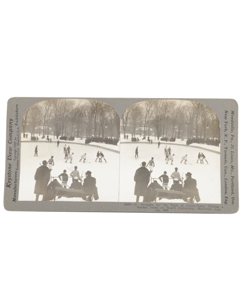 Scarce 1909 Keystone Stereoview Card of a Hockey Game at McGill University