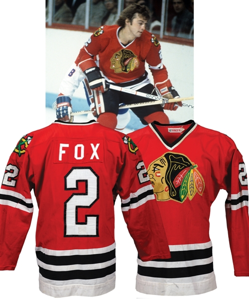 Greg Foxs 1980-81 Chicago Black Hawks Game-Worn Jersey - Nice Game Wear! - Photo-Matched!