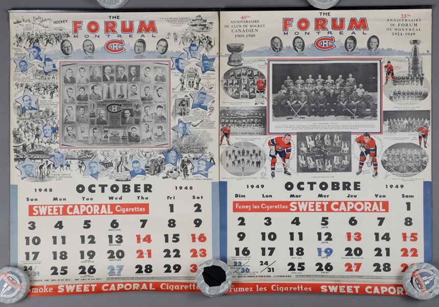 Montreal Canadiens 1948-49 and 1949-50 Sweet Caporal Hockey Calendars