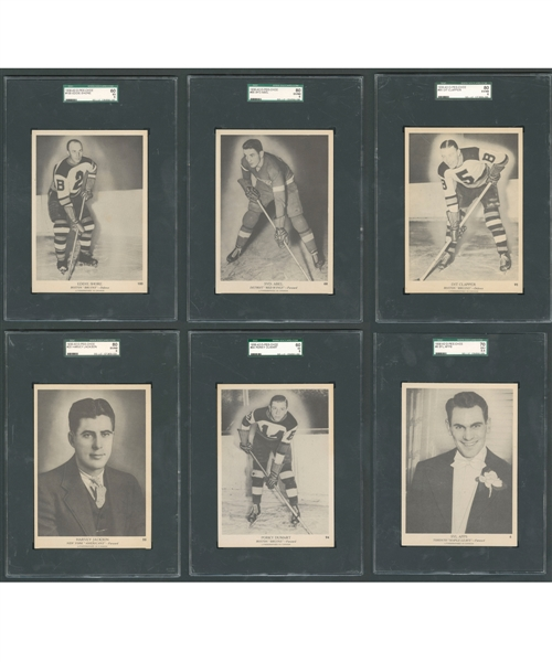 1939-40 O-Pee-Chee V301-1 SGC-Graded Hockey Card Collection of 6 Including Shore, Abel RC, Clapper, Dumart RC, Apps and Jackson
