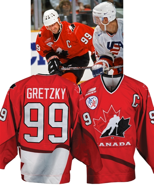 Wayne Gretzkys 1996 World Cup of Hockey Team Canada Pre-Tournament Game-Worn Captains Jersey from Chris Chelios Collection with His Signed LOA and Additional LOA from Shawn Chaulk - Photo-Matched!