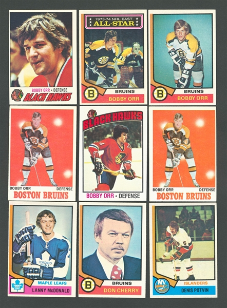 1980-81 Topps Hockey #140 HOFer Ray Bourque RC, 1980-81 Topps #250 HOFer Wayne Gretzky, 1968-79 Bobby Orr and Gordie Howe Cards (14) Plus More