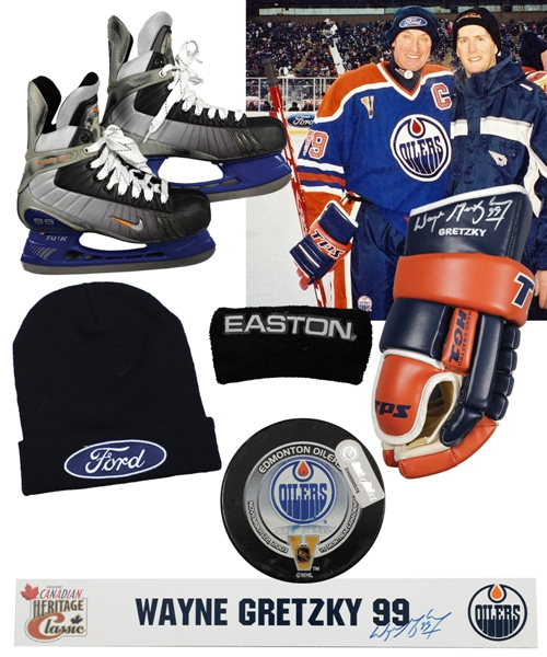 Wayne Gretzkys 2003 Heritage Classic Edmonton Oilers MegaStars Game-Used Nike V12 Skates, Signed Game-Used Glove, Game-Used Toque and Wristband and Signed Locker Room Nameplate with LOAs