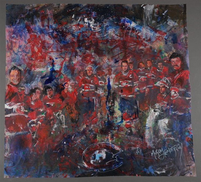 "Montreal Canadiens All-Time Greats ""Dream Team Roll Call"" Original Painting on Canvas by Renowned Artist Murray Henderson (32 ¼"" x 34 ¼"")"