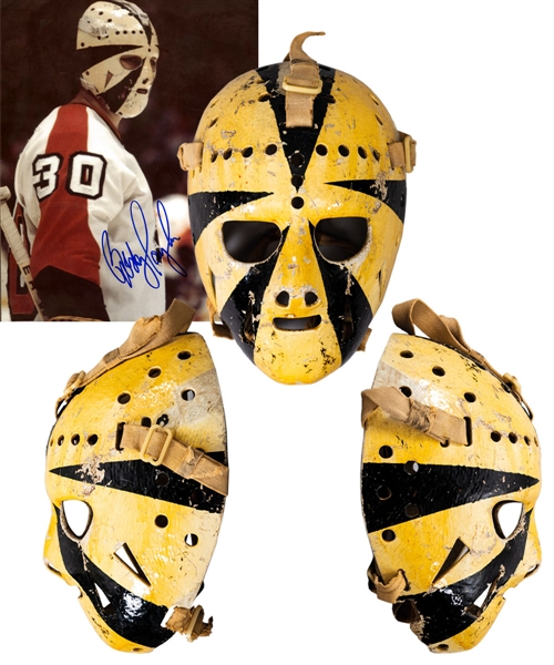 "Bobby Taylor's Early-1970s Philadelphia Flyers Game-Worn ""Sunburst"" Fiberglass Goalie Mask with His Signed LOA – Photo-Matched!"