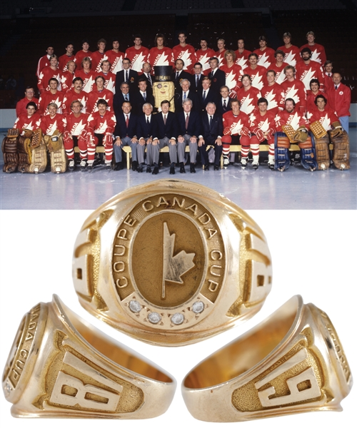 Ray Bourques 1981 Canada Cup 10K Gold and Diamond Ring with His Signed LOA