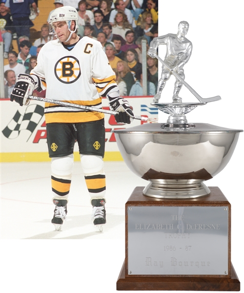 "Ray Bourques 1986-87 Boston Bruins Elizabeth DuFresne Trophy with His Signed LOA (19"")"
