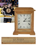 "Ray Bourques 1995-96 Boston Bruins ""1200th NHL Game"" and ""1300th NHL Point"" Presentational Clock with His Signed LOA (10 ½"")"