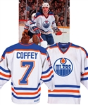 Paul Coffeys 1981-82 Edmonton Oilers Game-Worn Jersey from the Michael Wexler Collection - Numerous Team Repairs! - Photo-Matched!