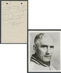 Deceased HOFer Dick Irvin (Montreal Canadiens - Chicago Black Hawks) Signed Photo and Letter from the E. Robert Hamlyn Collection