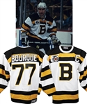 "Ray Bourques 1991-92 Boston Bruins ""Turn Back the Clock"" Signed Game-Worn Jersey with His Signed LOA - 75th Patch!"