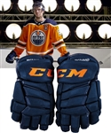 "Connor McDavids November 30th 2017 Edmonton Oilers CCM Video-Worn Gloves from SportsNet Video Shoot ""This is the Stick of Choice for McDavid"" with Team LOA"
