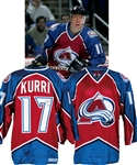 Jari Kurris 1997-98 Colorado Avalanche Game-Worn Jersey with LOA - Team Repairs! - Photo-Matched!