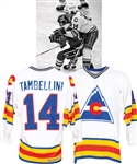 Steve Tambellini's 1981-82 Colorado Rockies Game-Worn Jersey with LOAs - Team Repairs! - Photo-Matched!