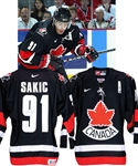 Joe Sakics 2004 World Cup of Hockey Team Canada Signed Game-Worn Alternate Captains Pre-Tournament Jersey with Hockey Canada LOA