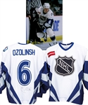 Sandis Ozolinshs 1998 NHL All-Star Game World All-Stars Signed Game-Worn Jersey with Claude Lemieuxs Signed LOA