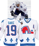 Joe Sakic's 1991-92 Quebec Nordiques Game-Worn Alternate Captain's Jersey with LOA - 75th Patch! - Photo-Matched!