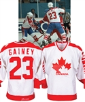 Bob Gaineys 1983 IIHF World Championships Team Canada Game-Worn Jersey from His Personal Collection with His Signed LOA