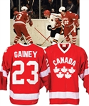Bob Gaineys 1982 IIHF World Championships Team Canada Game-Worn Jersey from His Personal Collection with His Signed LOA