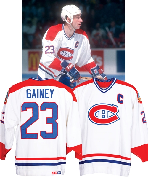 Bob Gaineys 1988-89 Montreal Canadiens Game-Worn Stanley Cup Finals Captains Jersey from His Personal Collection with His Signed LOA - 1989 Stanley Cup Finals Patch! - Photo-Matched!