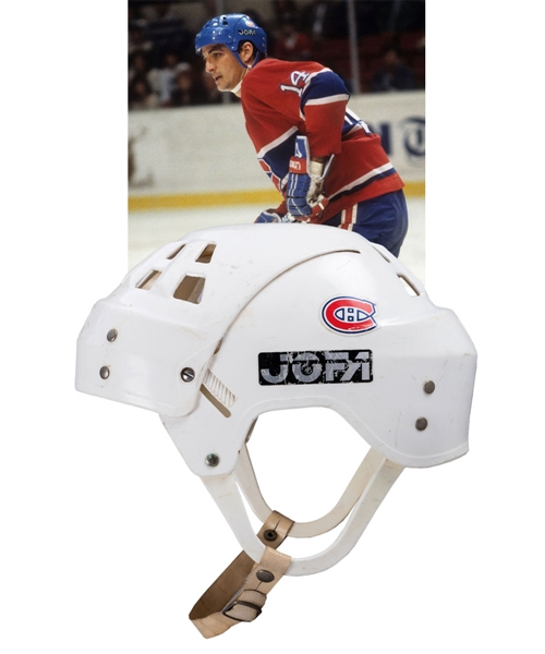 Mario Tremblays Mid-1980s Montreal Canadiens Jofa Game-Worn Helmet from Bob Gaineys Personal Collection with His Signed LOA