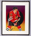 "Jeremy Roenick Chicago Black Hawks Framed Original 1990-91 Upper Deck Hockey Card Artwork by Vernon Wells (24 ½"" x 30 ½"")"