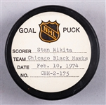 Stan Mikita's Chicago Black Hawks February 10th 1974 Goal Puck from the NHL Goal Puck Program - Season Goal #18 of 30 / Career Goal #419 of 541 - 2nd Goal of Hat Trick - Short-Handed Goal