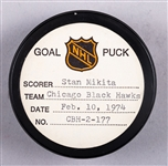 Stan Mikita's Chicago Black Hawks February 10th 1974 Goal Puck from the NHL Goal Puck Program - Season Goal #19 of 30 / Career Goal #420 of 541 - 3rd Goal of Hat Trick