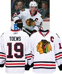 Jonathan Toews 2008-09 Chicago Black Hawks Game-Worn Captains Jersey - Team Repairs! - Photo-Matched!