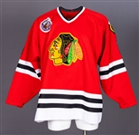 Cam Russells 1992-93 Chicago Black Hawks Game-Worn Playoffs Jersey with Team LOA - Centennial Patch!