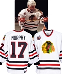 Joe Murphys 1992-93 Chicago Black Hawks Game-Worn Jersey - Centennial Patch! - Team Repairs!
