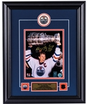 "Wayne Gretzky Signed Edmonton Oilers Framed ""Hoisting the Cup"" Photo Display with WGA COA (17"" x 21"")"