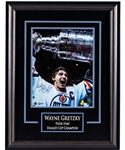"Wayne Gretzky Signed Edmonton Oilers Framed ""Four-Time Stanley Cup Champion"" Photo Display with WGA COA (20 ¼"" x 26 ¼"")"