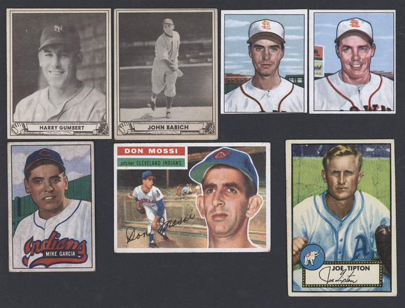 Baseball Card Collection Including 1940 Play Ball (2), 1950 Bowman (17), 1951 Bowman (2), 1952 Topps (2) and 1956 Topps (5)