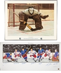 "Jean Ratelles 1972 ""At The Crease"" Ken Dandy Framed Lithograph (22"" x 29"") Plus NY Rangers Multi-Signed Lithograph (18"" x 39"") with His Signed LOA"
