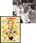 Jean Ratelles Boston Bruins Framed Display Collection of 3 Including 1,000th NHL Game Presentational Framed Original Artwork with His Signed LOA