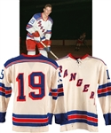 Jean Ratelles 1964-65 New York Rangers Game-Worn Jersey with His Signed LOA - Numerous Team Repairs!