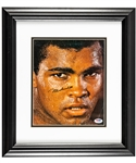 "Muhammad Ali ""The Stare"" Signed Picture Framed Display with PSA/DNA LOA (16"" x 18"")"