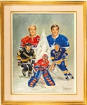 "Original Framed Painting Artwork by Michel Lapensee Used for the Montreal Forum 1993 NHL All-Star Game Program (30 1/2"" x  36 1/2"")"