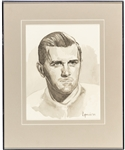 "Maurice Richard Original Framed Artwork by Michel Lapensee Used for the Montreal Canadiens 75th Anniversary Dream Team Program (13"" x 16"")"
