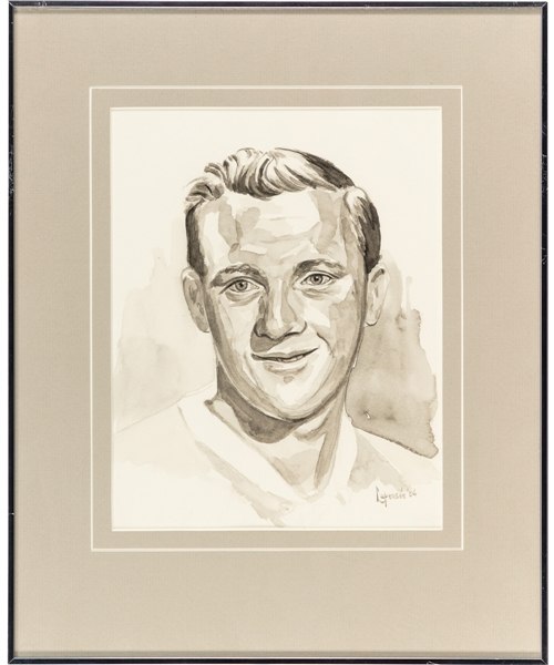 Dickie Moore Original Framed Artwork by Michel Lapensee Used for the Montreal Canadiens 75th Anniversary Dream Team Program