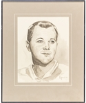 "Doug Harvey Original Framed Artwork by Michel Lapensee Used for the Montreal Canadiens 75th Anniversary Dream Team Program (13"" x 16"")"