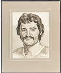 "Larry Robinson Original Framed Artwork by Michel Lapensee Used for the Montreal Canadiens 75th Anniversary Dream Team Program (13"" x 16"")"