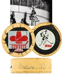 "Anders Hedbergs 1976-77 Winnipeg Jets ""70th Goal of Season"" Milestone Goal Puck with His Signed LOA"