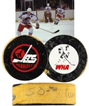 "Anders Hedbergs 1977-78 Winnipeg Jets ""50th Goal of Season"" Milestone Goal Puck with His Signed LOA"