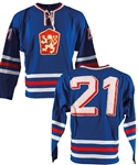 Ivan Hlinkas 1974 IIHF World Championships Team Czechoslovakia Game-Worn Jersey from Anders Hedbergs Personal Collection with His Signed LOA