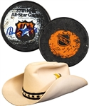 Anders Hedbergs 1985 NHL All-Star Game Signed Goal Puck (Assisted  by Mario Lemieux) and Event-Worn Cowboy Hat with His Signed LOA