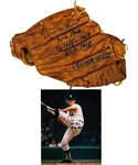 "Denny McLain Signed Vintage Wilson ""31 Wins"" Baseball Glove with Annotations (JSA LOA) and Signed Photo with ""31-6, 1968"" Annotation"